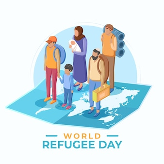 Flat design world refugee day concept