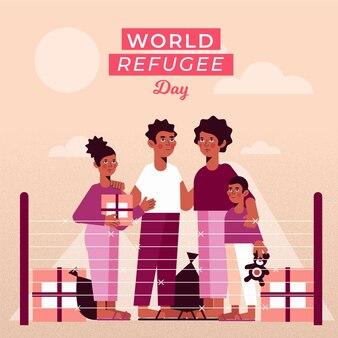 Concetto di giornata mondiale del rifugiato design piatto