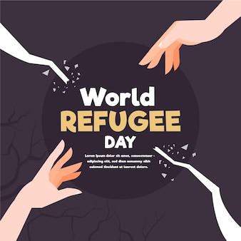 フラットなデザインの世界難民の日のコンセプト