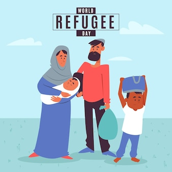 Плоский дизайн всемирный день беженцев с семьей