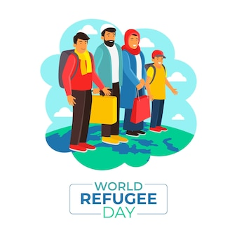 Flat design world refugee day
