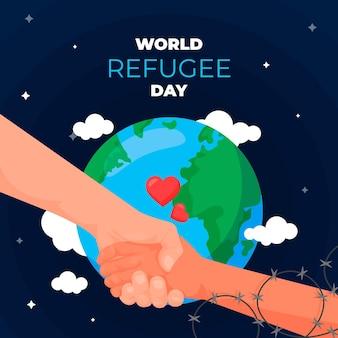 Flat design world refugee day