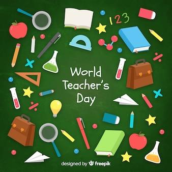Flat design world teacher's day background