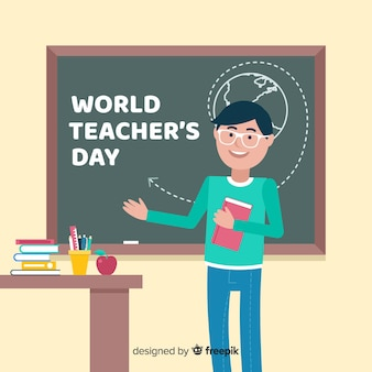 Flat design world teachers day