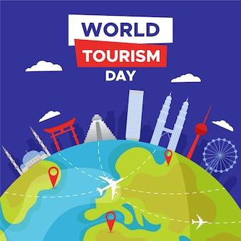 Flat design world tourism day background