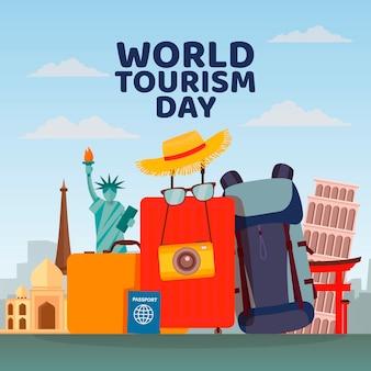 フラットデザインの世界観光デーのお祝い