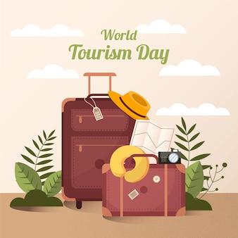 Празднование всемирного дня туризма в плоском дизайне