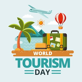 Flat design world tourism day concept