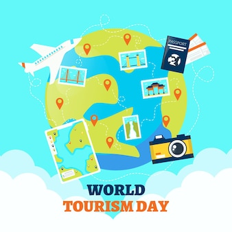 フラットなデザインの世界観光の日のコンセプト