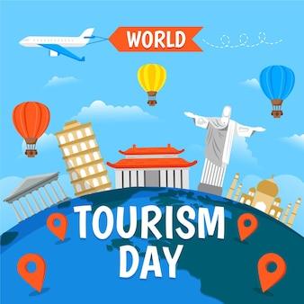 Flat design world tourism day concept