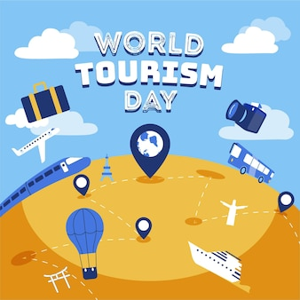Flat design world tourism day