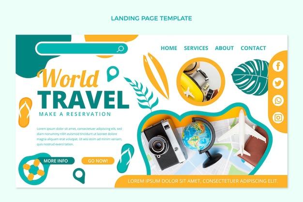 평면 디자인 세계 여행 방문 페이지