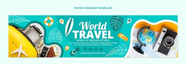 Плоский дизайн мирового путешествия twitch баннер