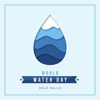 Flat design world water day event