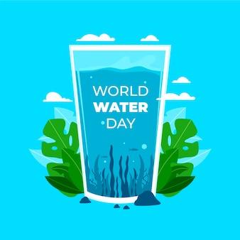 Всемирный день воды в плоском дизайне