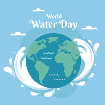 Flat design world water day illustration
