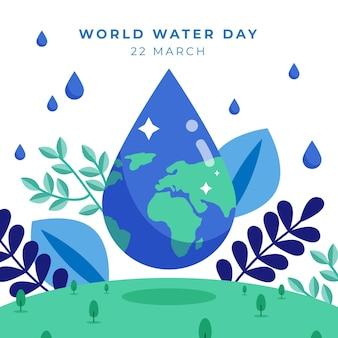 Illustrazione di giornata mondiale dell'acqua design piatto