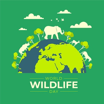 Flat design world wildlife day