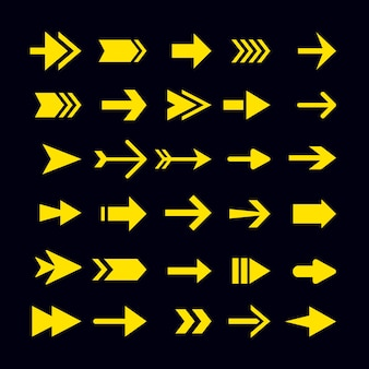 Flat design yellow arrow collection Free Vector