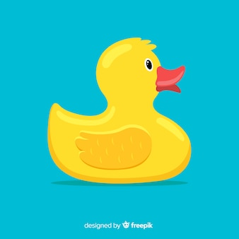 Flat design yellow rubber duck illustration