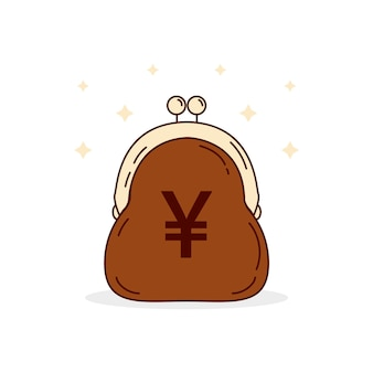Flat design yen money in purse