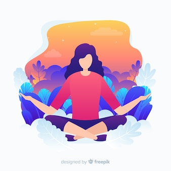 Flat design yoga character for landing page Premium Vector
