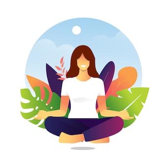 Плоский дизайн йога медитация персонажа для целевой страницы