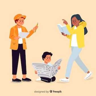 Flat design young characters reading in group
