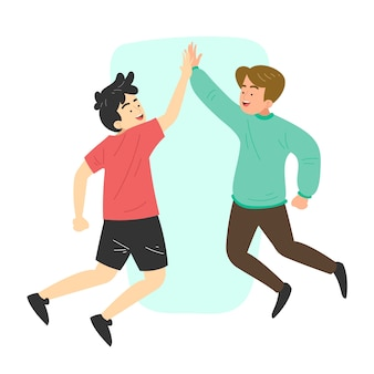 Flat design young people giving high five set