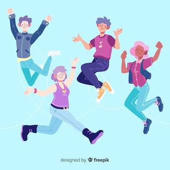 Flat design young people jumping
