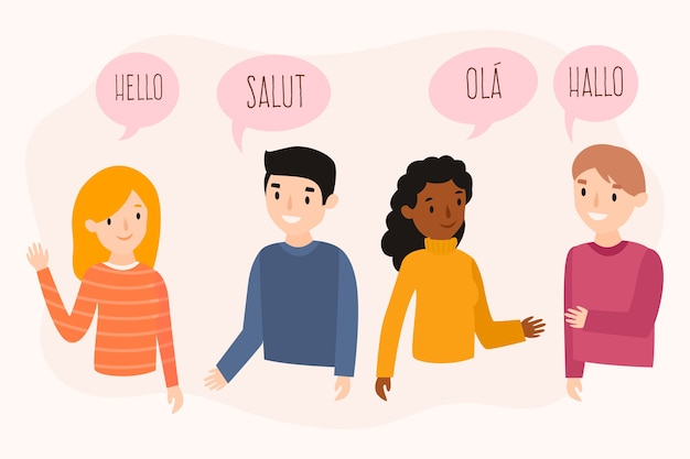 Flat design young people talking in different languages set