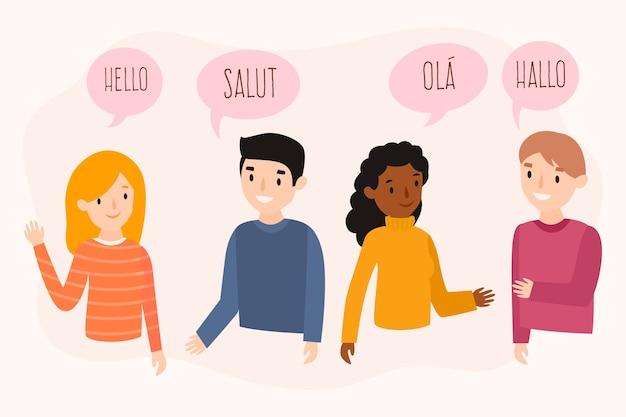 Плоский дизайн молодых людей, говорящих на разных языках набор