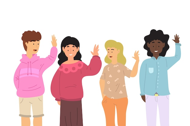 Flat design young people waving hand collection
