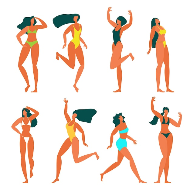 ビーチでリラックスしたフラットなデザインの若い女性