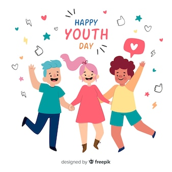 Flat design youth day background