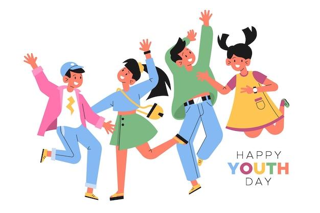 Плоский дизайн концепция дня молодежи
