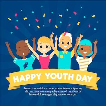 Плоский дизайн день молодежи