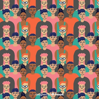 Flat design youth people pattern
