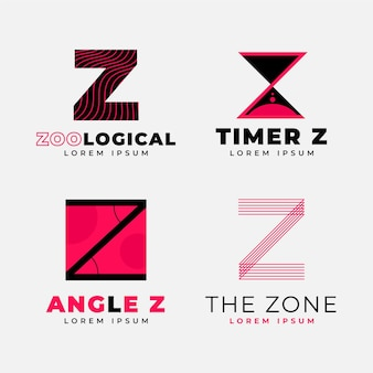 Плоский дизайн z письмо логотип коллекции