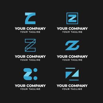 Collezione di logo lettera z design piatto