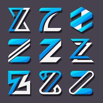 평면 디자인 z 문자 로고 템플릿 팩