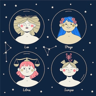Flat design zodiac sign collection