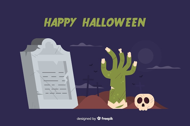 Flat design of zombie hand halloween background