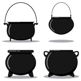 플랫 디자인만화 스타일의 일러스트레이션 벡터는 흰색 배경에 분리된 손잡이가 있는 검은색 주철 빈 요리 냄비, 캠핑 보일러, 철 마녀 가마솥을 설정합니다.