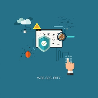 Плоский дизайн концепции иллюстрации шаблон для веб-безопасности