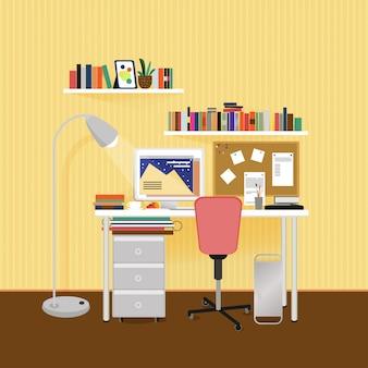 Концепция рабочего места плоский дизайнер