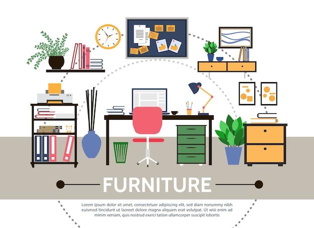 Flat designer workspace round composition