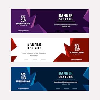 Flat designs шаблон веб-баннеров с диагональными элементами для фото. универсальный дизайн для рекламного бизнеса