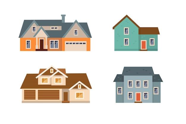 Плоский дизайн дома набор