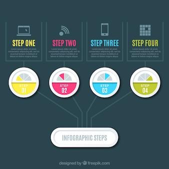 평평한 desing infographic 단계 무료 벡터